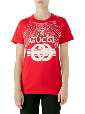 Cotton Jersey T-Shirt With G Buckle Print & Crystal Detail, Red