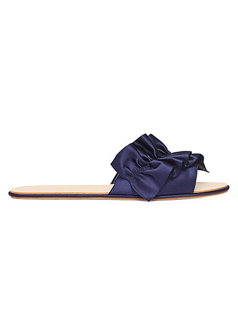 Image of Bold ruffle adds femininity to sophisticated satin slides. Satin upper. Slip-on style. Open toe. Leather lining and sole. Imported.