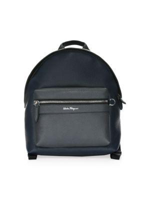 SALVATORE FERRAGAMO Firenze Colorblock Leather Backpack in Nero