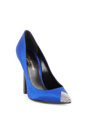Tower Crystal Pointy Toe Pump, Blue