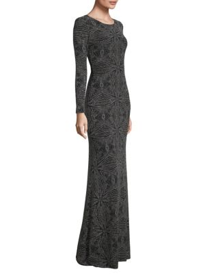 Laundry By Shelli Segal  Embellished Open-Back Gown