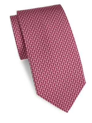 Gancio-Print Silk Twill Necktie, Berry
