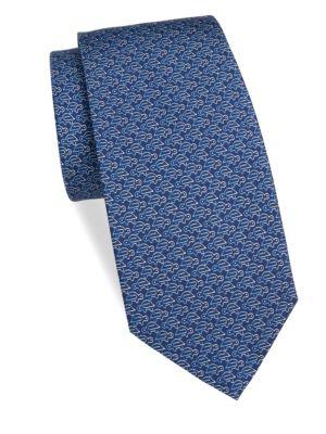 Ombré-Turtle-Print Silk Twill Necktie, Blue