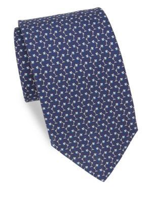 Desk-Lamp-Print Silk Twill Necktie, Navy