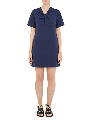 "Image of Cotton short sleeve dress with twist front accent V-neck Short sleeves Pullover style About 34"" from shoulder to hem Cotton/elastane Machine wash Imported Model shown is 5'10 (177cm) wearing US size Small. Contemporary Sp - Workshop. Carven. Color: Abysse"