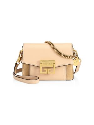 Mini Gv3 Leather & Suede Crossbody Bag - Beige, Nude