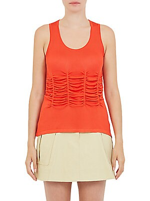 """Image of Classic tank top with Intricate front ruching Scoopneck Sleeveless Pullover style About 26"""" from shoulder to hem Viscose Dry clean Imported Model shown is 5'10 (177cm) wearing US size Small. Contemporary Sp - Workshop > Saks Fifth Avenue. Carven. Color: G"""