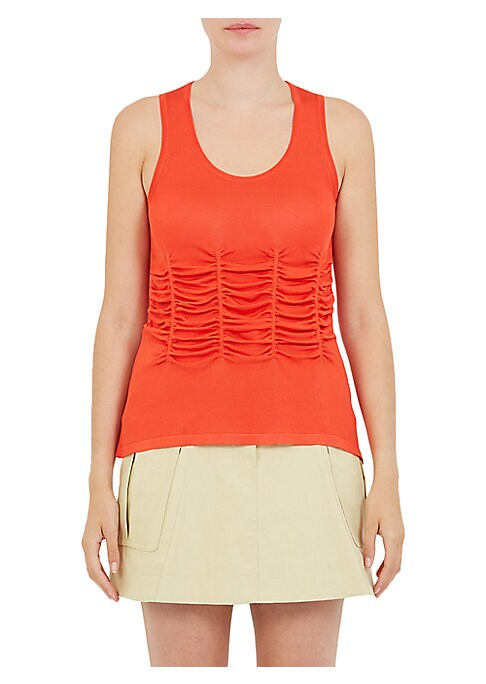 "Image of Classic tank top with Intricate front ruching. Scoopneck. Sleeveless. Pullover style. About 26"" from shoulder to hem. Viscose. Dry clean. Imported. Model shown is 5'10"" (177cm) wearing US size Small."