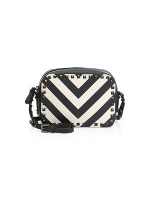 Rockstud Chevron Leather Crossbody Bag by Valentino Garavani