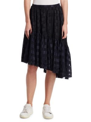 NOCTURNE ⋕22 Ruffle Asymmetric Skirt in Black Plaid