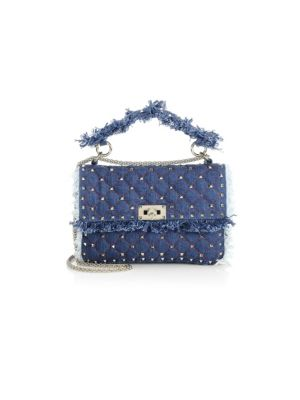 Rockstud Spike Medium Fringe Denim Shoulder Bag, Blue
