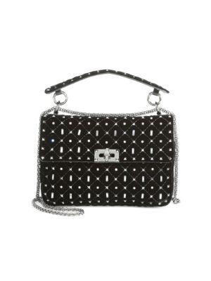 Rockstud Spike Crystal-Embellished Velvet Bag, Black