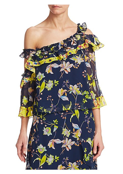 """Image of Lightweight one-shoulder bell-sleeve silk top with ruffle details and floral print. Asymmetric neckline. Three-quarter bell sleeves. Pullover style. About 21"""" from shoulder to hem. Silk. Dry clean. Imported. Model shown is 5'10"""" (177cm) wearing US size 4."""