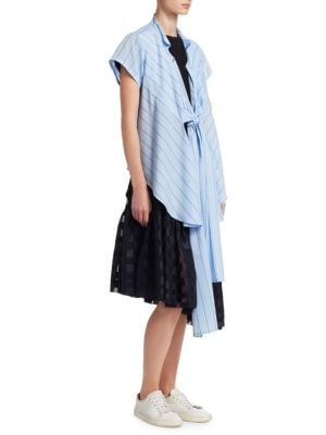 NOCTURNE ⋕22 Striped Multi-Tie Shirt in Light Blue