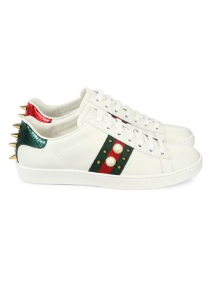 New Ace Studded Web Leather Sneakers by Gucci