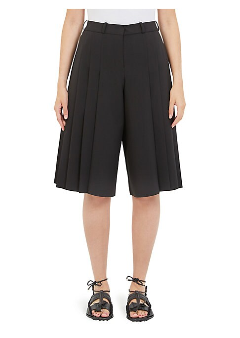 "Image of Cropped crepe culottes with crisp pleats. Belt loops. Front zip-fly with hook-and-eye closure. Back button welt pockets. Rise, about 14"".Inseam, about 26"". Polyester/elastane. Dry clean. Imported. Model shown is 5'10"" (177cm) wearing US size 4. ."