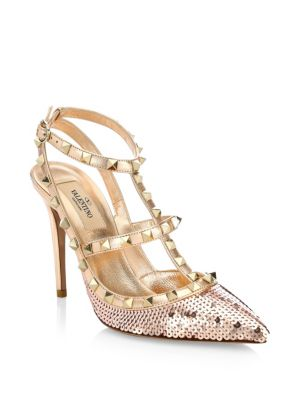 Rockstud Sequin-Covered Leather Pumps in Metallic