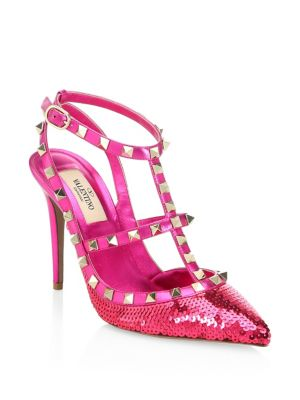 Rockstud Liquid Metal Sequin Pump, Pink Orchid