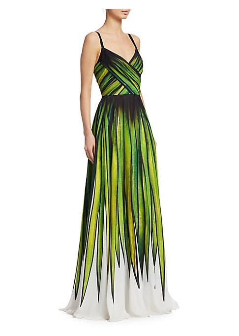 "Image of Silk-blend gown in striking palm print.V-neck. Sleeveless. Concealed back zip closure. About 62"" from shoulder to hem. Polyester/silk. Dry clean. Imported. Model shown is 5'10"" (177cm) and wearing US size 4."