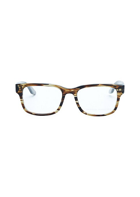 Image of 52mm lens width; 19mm bridge width; 148mm temple length. Clear lenses. Zyl. Made in Japan.