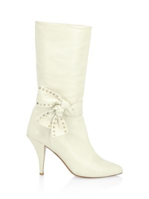 Bow-Embellished Leather Knee Boots - White Size 11 in Ivory