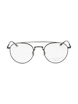 Image of 52mm lens width; 23mm bridge width; 148mm temple length Clear lenses Titanium Made in Japan. Men Accessories - Men Sunglasses. Barton Perreira.