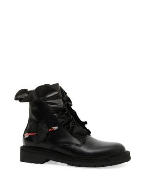 Love Calf Leather Combat Boot With Ruffles & Heart, Black