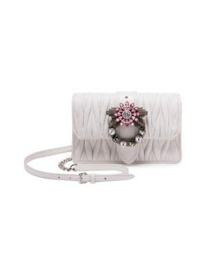 MIU MIU Small Jewel Buckle Leather Crossbody Bag in White