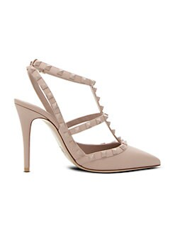 f6144a69a23 Rockstud Tonal Leather Ankle-Strap Pumps POUDRE. QUICK VIEW. Product image.  QUICK VIEW. Valentino Garavani