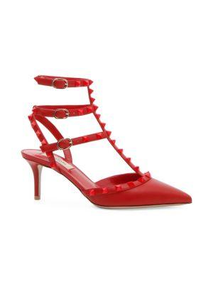 Valentino Sandals Rockstud Tonal Leather Sling Heels