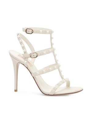 Rockstud Tonal Leather Cage Sandals in Ivory