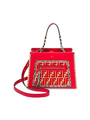 b7ac85ec75dc Fendi - Small Runaway Raffia   Leather Logo Satchel