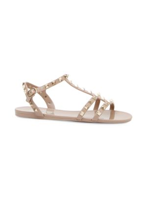 Nude Rockstud Studded Pvc Sandals, Poudre