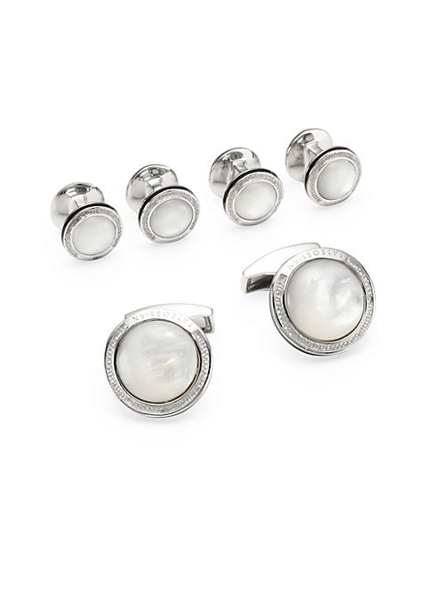 """Image of EXCLUSIVELY AT SAKS.COM.From the Signature Collection. Round cufflinks and shirt studs with domed accent. Set includes: One pair of cufflinks and four shirt studs. Silver/mother-of-pearl/enamel. Diameter, about 0.9"""".Imported."""