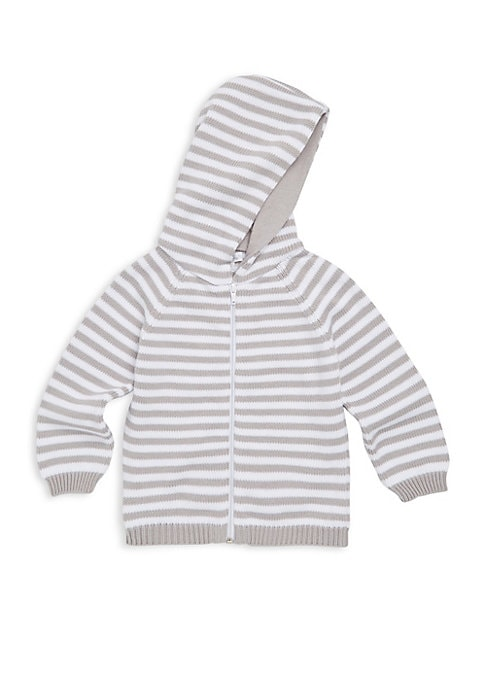 Image of Comfortable hooded cotton jacket with striped design. Attached hood. Long raglan sleeves. Rib-knit cuffs and hem. Exposed front zip. Pima cotton. Machine wash. Imported.