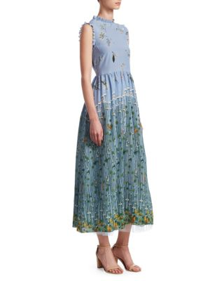 RED VALENTINO Garden Of Metamorphosis Print Crepe De Chine Maxi Dress, Pale Blue