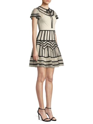 RED VALENTINO Point D Esprit Georgette Tubulars And Lace Ribbons Dress, Ivory