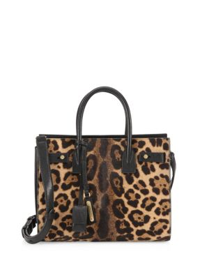SAINT LAURENT Sac De Jour Baby In Leopard Printed Pony Effect Leather, Natural