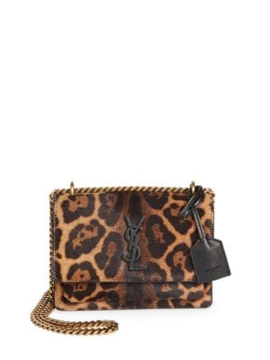SAINT LAURENT Sunset Small Leather-Trimmed Leopard-Print Calf Hair Shoulder Bag, Natural