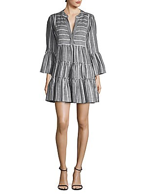 """Image of Airy ruffled shift dress in striped linen-blend Split neck Three-quarter sleeves Ruffle cuffs About 35"""" from shoulder to hem Linen/cotton Dry clean Made in USA Model shown is 5'10"""" (177cm) wearing US size Small. Contemporary Sp - Contemporary Collections."""