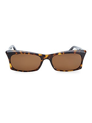 Image of From the Love Collection Tortoise shell rectangular sunglasses with a retro feel Lens width, 53mm; bridge width, 16mm; temple length, 140mm Solid lenses Case and cleaning cloth included Acetate Imported. Soft Accessorie - Sunglasses > Saks Fifth Avenue. A
