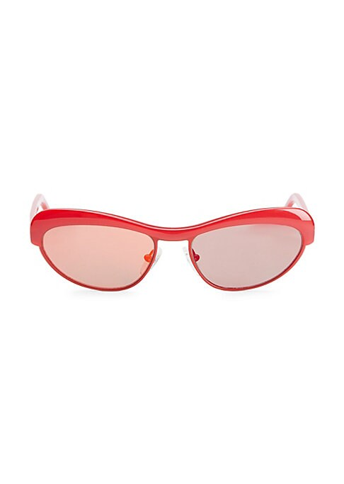 Image of From the Love Collection. Chic cat eye sunglasses with a retro feel. Lens width, 51mm; bridge width, 15mm; temple length, 135mm. Mirror lenses. Case and cleaning cloth included. Metal/acetate. Imported.
