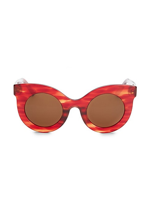 Image of Thick frame sunglasses feature vintage silhouette shaped by thick frames.49mm lens width; 29mm bridge width; 139mm temple length. Tinted lenses. Acetate. Imported.