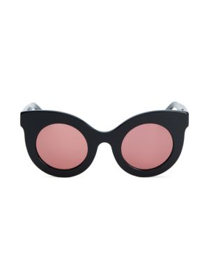 ANDY WOLF Millicent 49Mm Thick Frame Cat Eye Sunglasses in Black Rose
