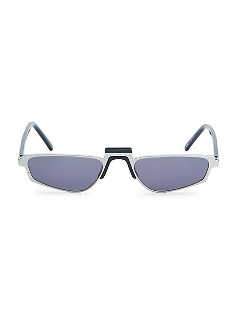Image of From the White Heat Collection. Chic rectangular sunglasses with a retro feel. Lens width, 51mm; bridge width, 19mm; temple length, 145mm. Solid lenses. Case and cleaning cloth included. Metal/acetate. Imported.
