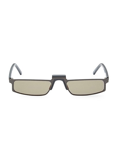 Image of From the White Heat Collection. Rectangular sunglasses made for geometric accents.52mm lens width; 19mm bridge width; 145mm temple length. Black mirror lenses. Case and cleaning cloth included. Metal/acetate. Imported.