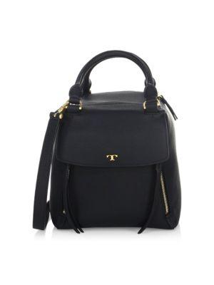 Half Moon Black Leather Satchel Bag