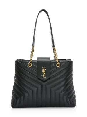 SAINT LAURENT Loulou Monogram Large Quilted Shoulder Tote Bag - Lt. Bronze Hardware, Black