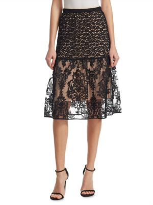 N°21  Contrast Lace Midi Skirt