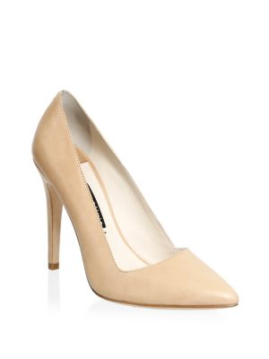 Dina 95 Whipstitch Pointy Toe Pump in Natural